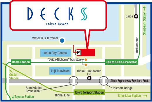 Access Parking lotFacilities servicesDECKS Tokyo Beach